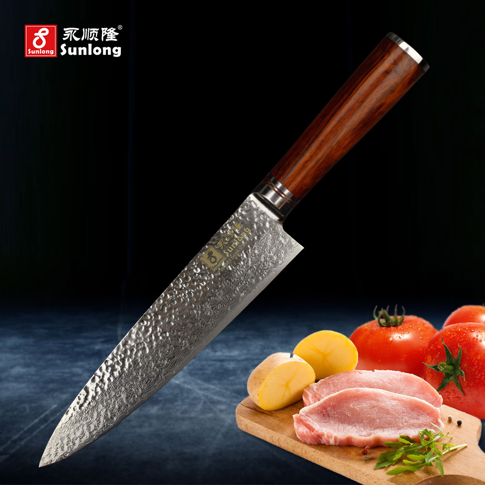 Sunlong 8 inch chef knives VG 10 steel core 67 layers damascus knives kitchen knife damascus