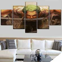 Swordsmen Zoro Roronoa Anime ONE PIECE 5 Piece Poster Decorative Home Decor Picture HD Print Paintings on Canvas Wall Art