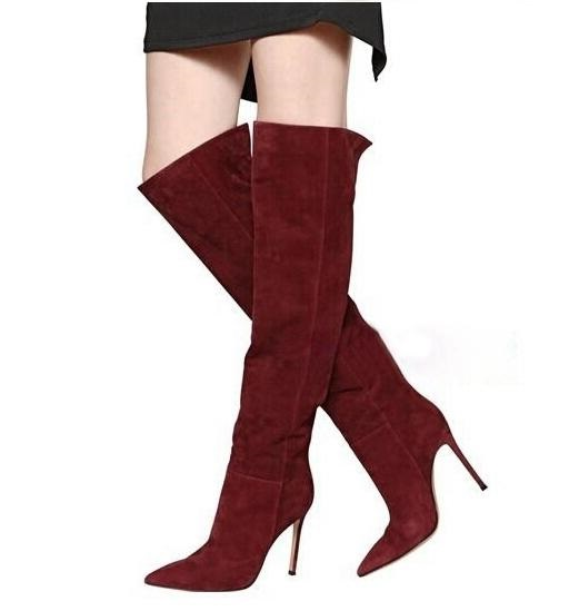 f5d3ddfaf4e Sexy Burgundy Red Thigh High Boots Pointed Toe Suede Stretch Thigh Boots  Side Zipper Thin High Heels Over The Knee Boots