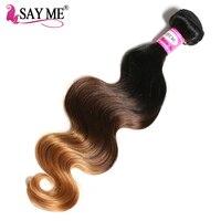 SAY ME Malaysian Body Wave 1b 4 30 Non Remy Ombre Human Hair Weave Bundles Auburn