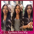 New Fiber Body Wave Hair Synthetic Lace Front Wig With Baby Hair Thin Fine Front Lace Wig Synthetic No Lace Wig Heat Resistant