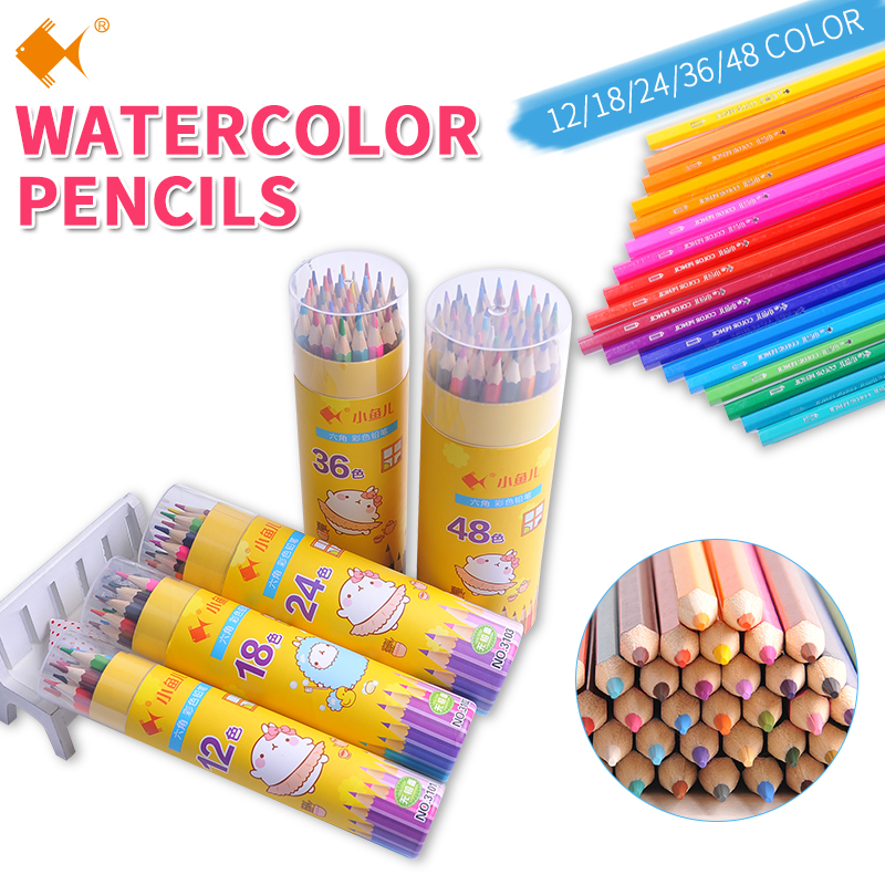 48 Colored Watercolor Pencils Lapices De Colores Profesionales WaterSoluble Wooden Color Pencil Set Kids Art School Supplies