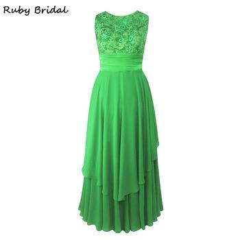 Ruby Bridal 2017 Vestido De Festa Long A-line Prom Dresses Purple Chiffon Appliques Pleats Luxury Green Evening Party Gown KP39