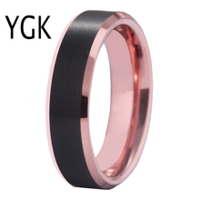 цены YGK Jewelry Matte Black Center Rose Golden Bevel 100% Tungsten Ring For Women Men's Classic Wedding Engagement Anniversary Ring