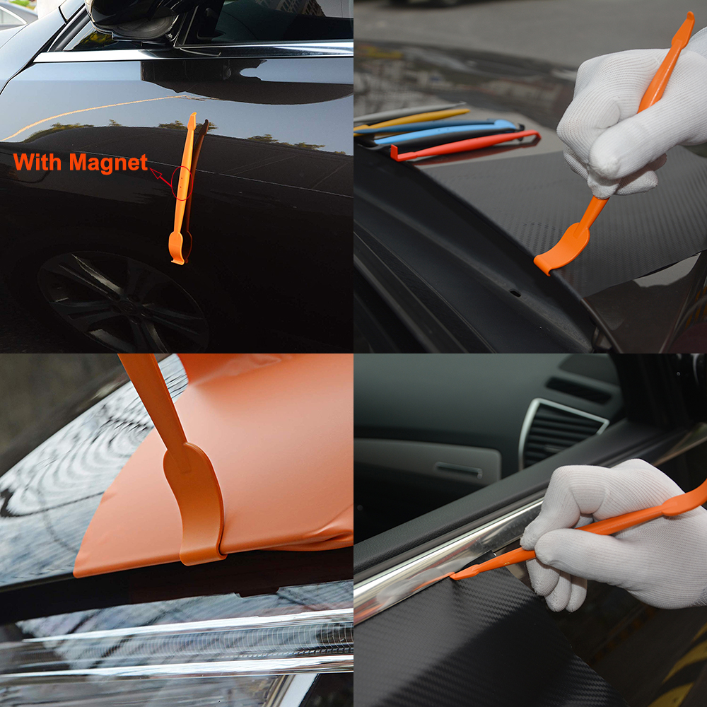 Image 2 - FOSHIO 5pcs Carbon Fiber Vinyl Film Wrap Car Tools Magnetic Corner Stick Squeegee Scraper Gasket Micro Window Tint Magnet Set-in Scraper from Automobiles & Motorcycles