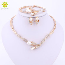 Fine Bridal Simulated Pearl Jewelry Sets For Women Gold Color Wedding Accessories Crystal Necklace Earrings Bracelet Ring Set