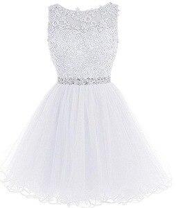 Image 5 - ANGELSBRIDEP Sexy krótkie/Mini sukienki na powrót do domu 2020 z aplikacje z koralikami Vestidos Cortos specjalna okazja sukienki ukończenia szkoły