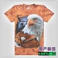 Águia falcão 3d tingimento tie-Camouflage plus size solta 100% algodão masculino curto-manga comprida T-shirt camisa básica