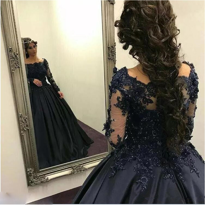 2018 Exquisite Navy Blue/Black/Gold Ball Gown Prom dresses Long Sleeves Beaded Appliques Gowns Dress Prom Robe De Bal Longue