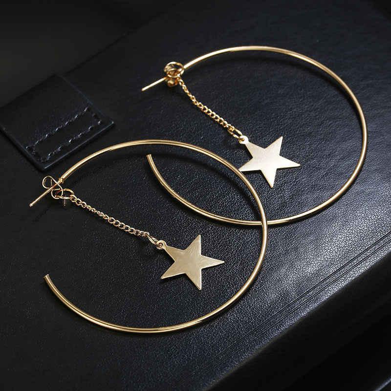 แฟชั่นต่างหู big Circle star จี้ต่างหูสำหรับผู้หญิงงานแต่งงานของขวัญเครื่องประดับ