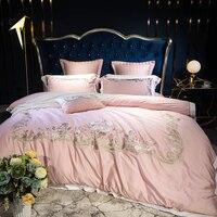 Розовый Роскошный изысканный королевская вышивка 80 s египетского хлопка постельных принадлежностей пододеяльник простыня наволочки корол