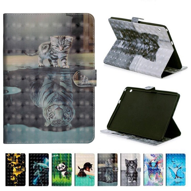 Cat Painting PU Leather Case For Samsung Galaxy Tab A 10.1 inch 2016 model SM-T580 <font><b>T585</b></font> T580 T585N Smart Cover tablet case+gifts image