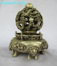 Art collection old chinese handmade tibet silver dragon feng shui ball  incense burner /metal censer craft for home decoration