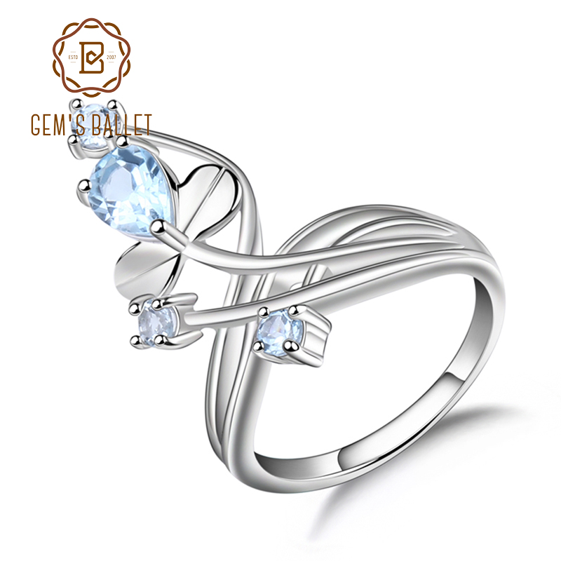 Gem's Ballet 1.3Ct Natural Blue Topaz Gemstone Ring Solid 925 Sterling Silver Flower Ring For Women Wedding Fine Jewelry