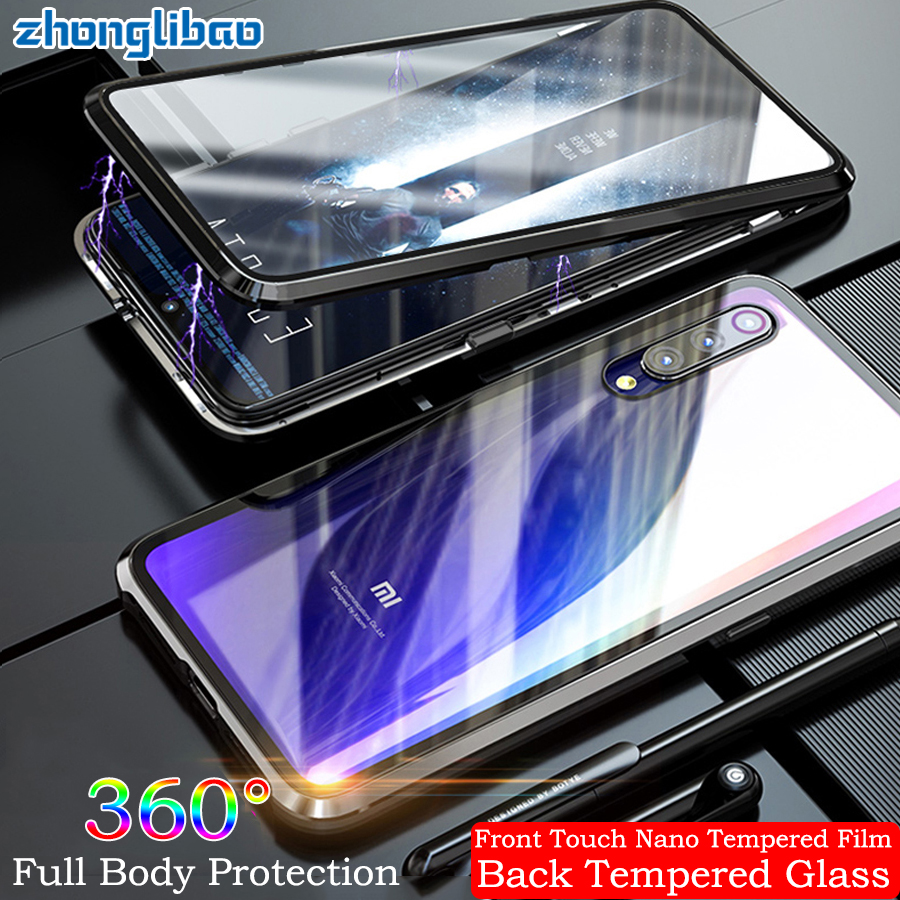 Built-in Magnetic Adsorption Metal Case for <font><b>Xiaomi</b></font> Mi 9 <font><b>Mi9</b></font> M9 Luxury 360 Full Cover Front Back Glass Double Screen Protector image