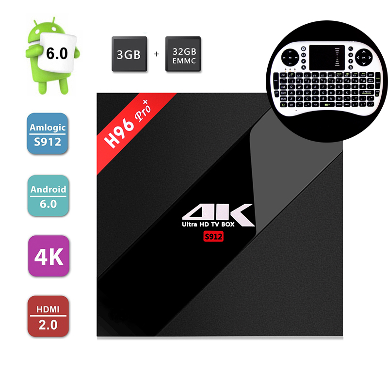 ФОТО Android tv box H96 Pro+ Amlogic S912 Octa Core 3GB/32GB Android 6.0 2.4G/5GHz Wifi 4K HDR 1000 LAN BT4.0 KODI 16.0+i8 keyboard