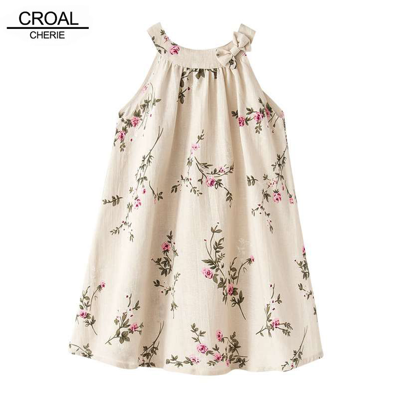 24M 12Y Fashion Linen Embroidered Branches Girls Dresses Breathable Sleeveless Dress Kids Costume Children s clothing