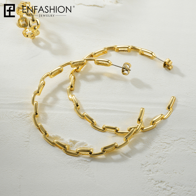 Фото женские круглые серьги кольца enfashion из звеньев с цепочкой цена