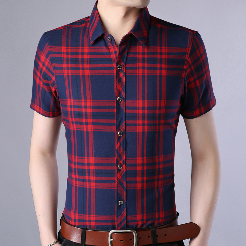 2018 new shirt men fashions clothes dress short sleeve casual slim fit plaid mens shirts streetwear camisa social masculina 9689