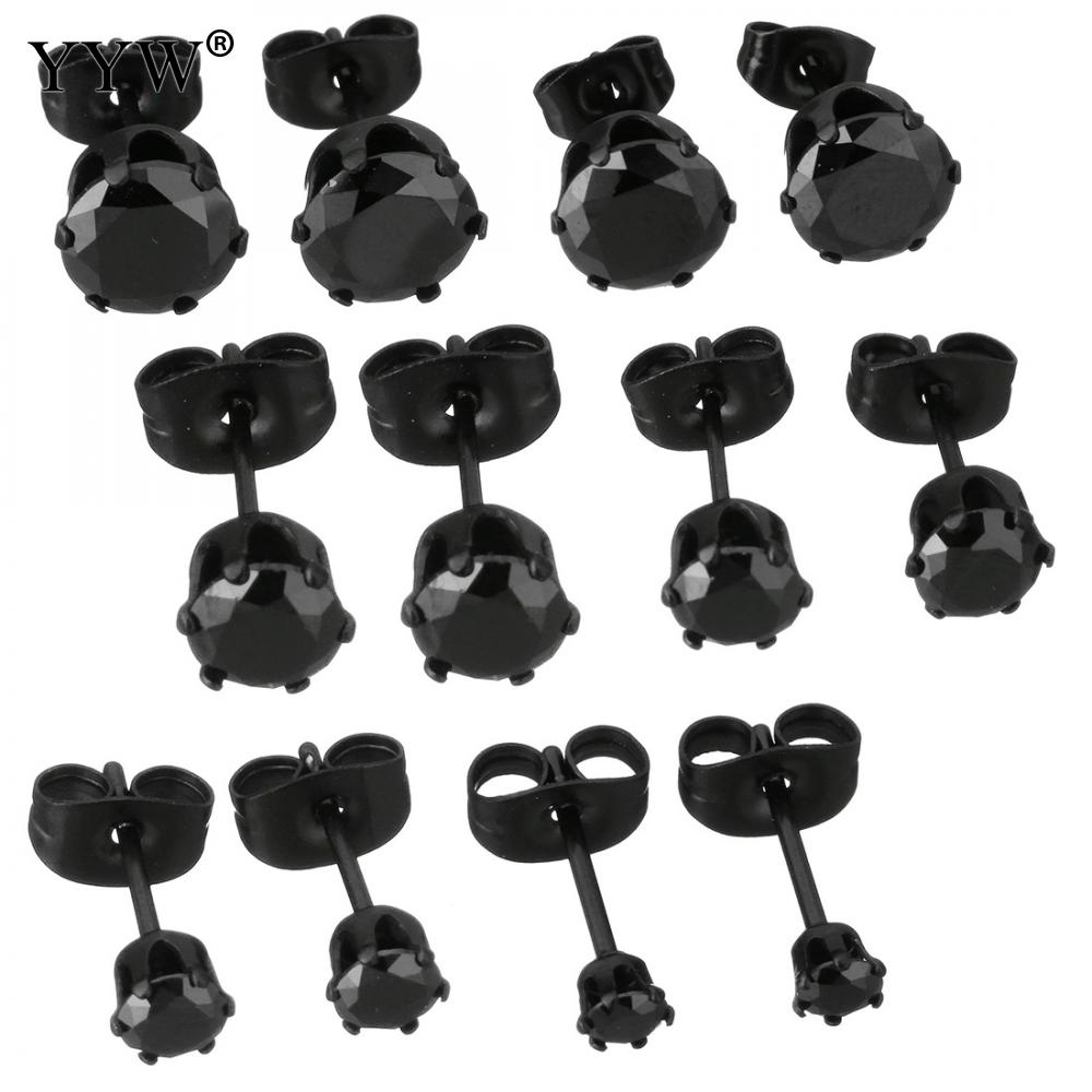 Stainless Steel Stud Earrings Black Ionic Different Size For Choice & For Woman & With Rhinestone Sold By Pair