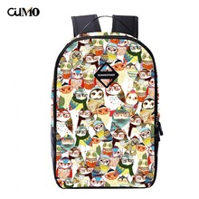 Ou Mo brand owl Print Mini Bag laptop anti theft backpack feminina Women man teenagers Boys/Girls Schoolbag
