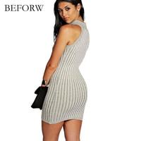 BEFORW Summer New Solid Color Dress High Collar Sleeveless Dress Night Club Mini Dress Knitted Dress
