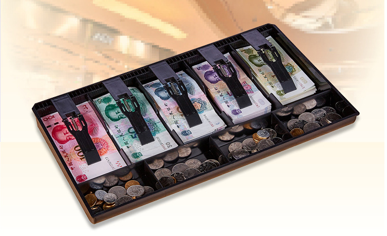 New Five Grid Cash Register Drawer Store Cashier Collection Cash Box 40.4x24.5x3.6cm CANDYKEE