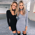 2017 New Autumn Winter Dress Europe Fashion Elegant Cotton Long Sleeve Sexy Club V Neck Hip Dresses Casual Vestidos De Festa Hot
