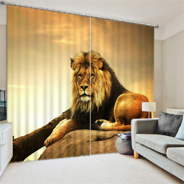 Office drapes New Golden Lion Luxury Blackout 3d Curtains For Living Room Bedding Room Office Drapes Cotinas Para Sala Workwearwander Golden Lion Luxury Blackout 3d Curtains For Living Room Bedding Room