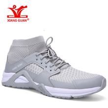 XIANG GUAN 2017 Mid-high Men Running Shoes Mesh Breathable Athletic Outdoor Sports Sneakers Antiskid Trainers Wear-resisting