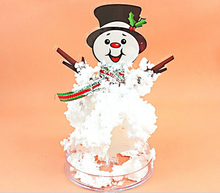 Hot 2019 17x10cm Visual DIY White Magic Growing Paper Snowman Tree Kit Artificial Magical Grow Trees Science Kids Christmas Toys 2019 12x8cm hot white magic growing paper snowflake tree magical grow snowflakes flutter crystals snowman trees flakes kids toys