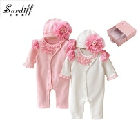 2017 Infant Clothes Baby 3D Flower Romper Matching Hat Spring Autumn Solid O Neck Rompers With