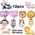 12 piezas globos de papel de aluminio tamaño mini globos de Animales Mascotas vaca Tigre mono cerdo caballo ciervos cumpleaños globos globo de helio