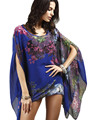Sexy Swimsuit Cover Ups Woman Beach Tops Sarong Wrap Skirt Chiffon Floral Prints Beachwear Tunic Coverup