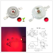 100pcs 3W LED Red 660nm High power bulbs Lamp 700mA 2.2-2.4V 30-40LM 42mil plant growing light Chips
