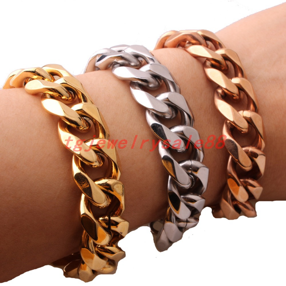 12/15mm Wide New Fashion Stainless Steel Silver Gold Rose Gold Color Curb Cuban Link Chain Bracelet Mens Cuff Jewelry 7-11