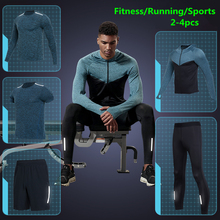 Vansydical Gym Running Sets Mens Fitness Compression Tights Sportswear Stretchy Training Clothing Sports Jogging Suits 2-5pcs