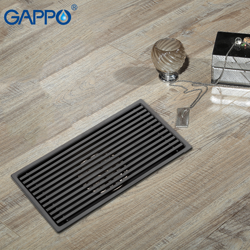 GAPPO Drains Anti odor bathroom floor drain strainer shower floor drains recgangle black bathroom drainers water