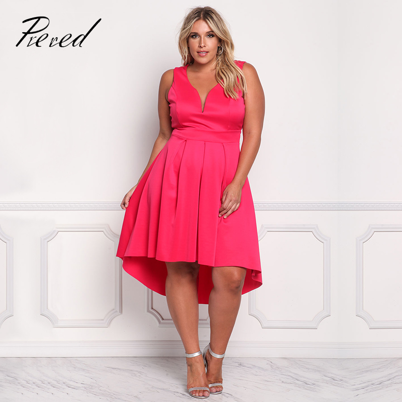 Prered 2018 Summer Women Dress Plus Size Solid Sleeveless V-neck Vestido Plus Size Sexy Club Party Dresses XXXL Free Shipping