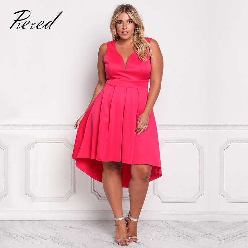 Prered 2018 Summer Women Dress Plus Size Solid Sleeveless V-neck Vestido Plus Size Sexy Club Party Dresses XXXL Free Shipping