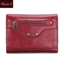 Kontakt's Frauen Echtes Leder Brieftasche Mode Damen Kurze Geldbörsen Kleine Trifold Wallet Geldbörse Kartenhalter Clutch Bag