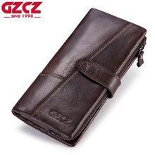 GZCZ мужской кошелек из натуральной кожи, модный кошелек для монет, мужской кошелек, держатель для карт, Portomonee, Длинный кошелек, зажим для денег, мужской клатч