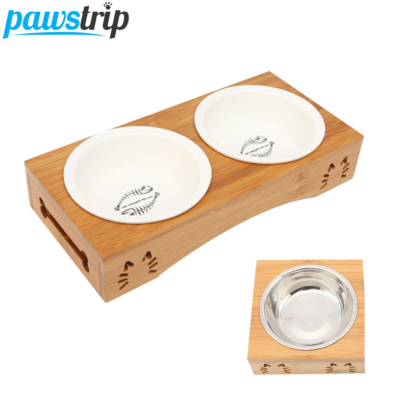 Pawstrip Pet Double Dog Bowl Bamboo Stainless Steel Ceramic Cat Bowl Dog Food Bowl Feeding Feeder Water Bowl For Dogs Petshop