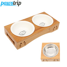 pawstrip Pet Double Dog Bowl Bamboo Stainless Steel Ceramic Cat Food Feeding Feeder Water For Dogs Petshop