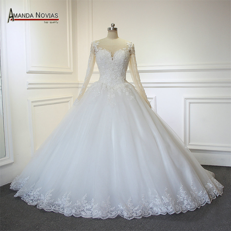 Long Sleeves 11 Ball Gown Wedding Dress Nice Back With Fresh Nude Color  Tulle