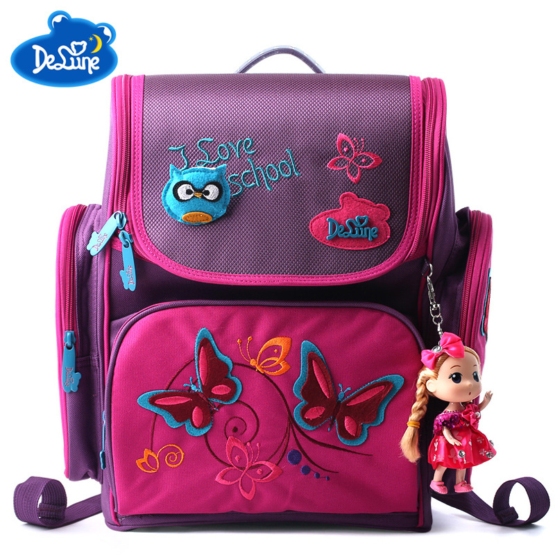 Delune Children High Quality Butterfly School Bags Boys Girls Students Kids Travel Orthopedic Satchel School Backpack Bags