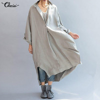 Celmia Plus Size Women Vintage Kaftan Dress V Neck Long Sleeve Solid Split Asymmetric Baggy Oversized
