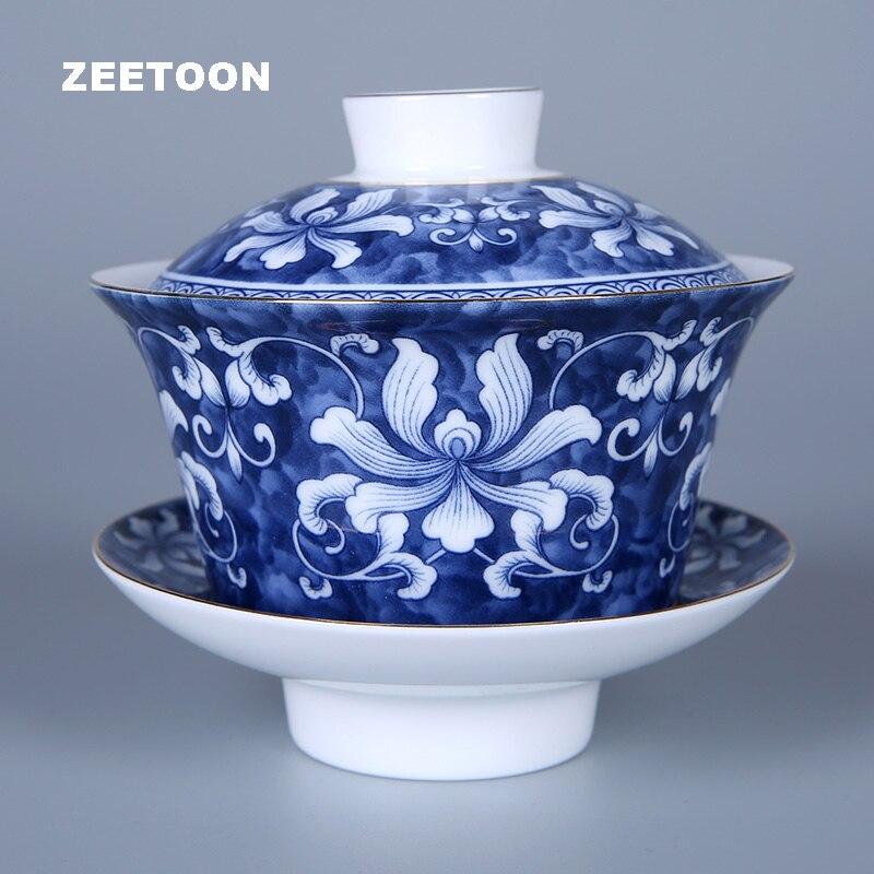 Jingdezhen bleu et blanc porcelaine Gaiwan Antique en céramique thé bol théière chinois Kung Fu thé tasse tasses soucoupe et tasse thé ensemble