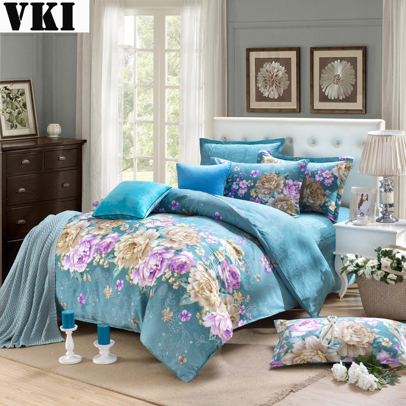 Home Textile New Design Flower Printed Cotton Bedspread