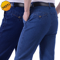 Hot Fashion Classic Old People Jeans Straight Baggy Loose Denim High Stretch Pants Middle Aged People
